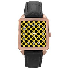 Circles2 Black Marble & Yellow Colored Pencil Rose Gold Leather Watch