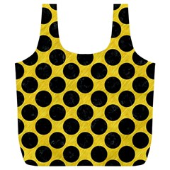 Circles2 Black Marble & Yellow Colored Pencil Full Print Recycle Bags (l)