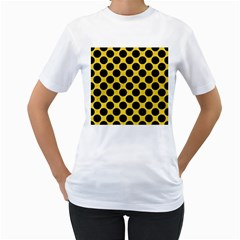 Circles2 Black Marble & Yellow Colored Pencil Women s T Shirt (white)