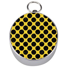 Circles2 Black Marble & Yellow Colored Pencil Silver Compasses
