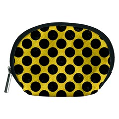 Circles2 Black Marble & Yellow Colored Pencil Accessory Pouches (medium)
