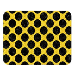 Circles2 Black Marble & Yellow Colored Pencil Double Sided Flano Blanket (large)