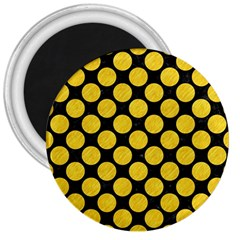 Circles2 Black Marble & Yellow Colored Pencil (r) 3  Magnets