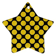 Circles2 Black Marble & Yellow Colored Pencil (r) Ornament (star)