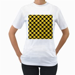 Circles2 Black Marble & Yellow Colored Pencil (r) Women s T Shirt (white) (two Sided)