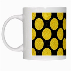 Circles2 Black Marble & Yellow Colored Pencil (r) White Mugs