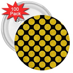 Circles2 Black Marble & Yellow Colored Pencil (r) 3  Buttons (100 Pack)