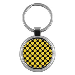 Circles2 Black Marble & Yellow Colored Pencil (r) Key Chains (round)