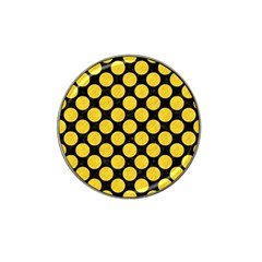 Circles2 Black Marble & Yellow Colored Pencil (r) Hat Clip Ball Marker
