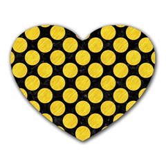 Circles2 Black Marble & Yellow Colored Pencil (r) Heart Mousepads