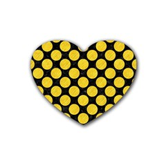 Circles2 Black Marble & Yellow Colored Pencil (r) Rubber Coaster (heart)