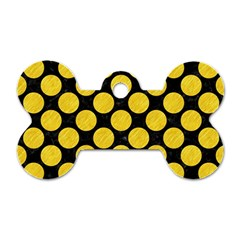 Circles2 Black Marble & Yellow Colored Pencil (r) Dog Tag Bone (one Side)