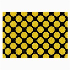 Circles2 Black Marble & Yellow Colored Pencil (r) Large Glasses Cloth