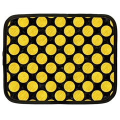 Circles2 Black Marble & Yellow Colored Pencil (r) Netbook Case (large)
