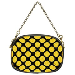 Circles2 Black Marble & Yellow Colored Pencil (r) Chain Purses (one Side)