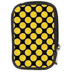 Circles2 Black Marble & Yellow Colored Pencil (r) Compact Camera Cases