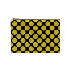 Circles2 Black Marble & Yellow Colored Pencil (r) Cosmetic Bag (medium)