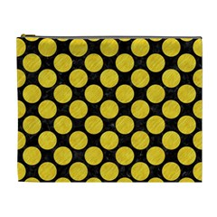 Circles2 Black Marble & Yellow Colored Pencil (r) Cosmetic Bag (xl)