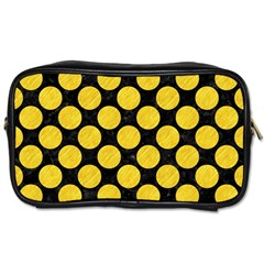 Circles2 Black Marble & Yellow Colored Pencil (r) Toiletries Bags 2 Side