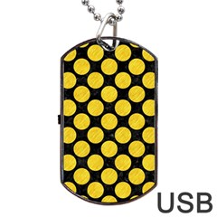 Circles2 Black Marble & Yellow Colored Pencil (r) Dog Tag Usb Flash (two Sides)