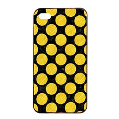 Circles2 Black Marble & Yellow Colored Pencil (r) Apple Iphone 4/4s Seamless Case (black)