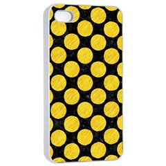Circles2 Black Marble & Yellow Colored Pencil (r) Apple Iphone 4/4s Seamless Case (white)