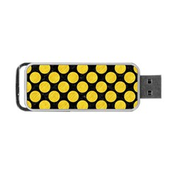 Circles2 Black Marble & Yellow Colored Pencil (r) Portable Usb Flash (one Side)