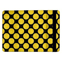 Circles2 Black Marble & Yellow Colored Pencil (r) Samsung Galaxy Tab Pro 12 2  Flip Case