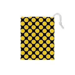 Circles2 Black Marble & Yellow Colored Pencil (r) Drawstring Pouches (small)