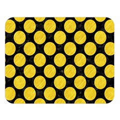 Circles2 Black Marble & Yellow Colored Pencil (r) Double Sided Flano Blanket (large)