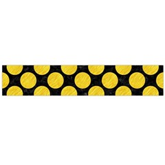 Circles2 Black Marble & Yellow Colored Pencil (r) Large Flano Scarf