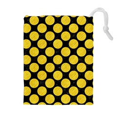 Circles2 Black Marble & Yellow Colored Pencil (r) Drawstring Pouches (extra Large)