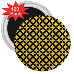 Circles3 Black Marble & Yellow Colored Pencil 3  Magnets (100 Pack)