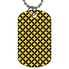 Circles3 Black Marble & Yellow Colored Pencil Dog Tag (one Side)