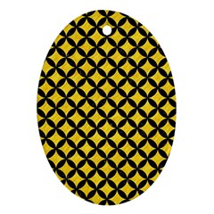 Circles3 Black Marble & Yellow Colored Pencil Oval Ornament (two Sides)