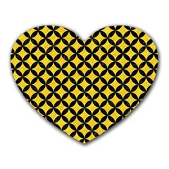 Circles3 Black Marble & Yellow Colored Pencil Heart Mousepads