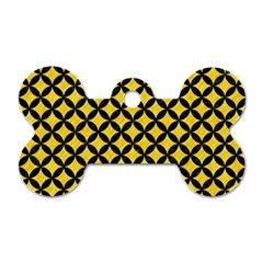 Circles3 Black Marble & Yellow Colored Pencil Dog Tag Bone (one Side)