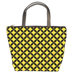 Circles3 Black Marble & Yellow Colored Pencil Bucket Bags