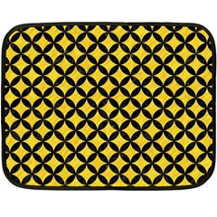 Circles3 Black Marble & Yellow Colored Pencil Fleece Blanket (mini)