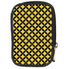 Circles3 Black Marble & Yellow Colored Pencil Compact Camera Cases