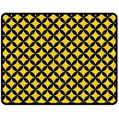 Circles3 Black Marble & Yellow Colored Pencil Fleece Blanket (medium)