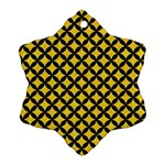 CIRCLES3 BLACK MARBLE & YELLOW COLORED PENCIL Ornament (Snowflake) Front