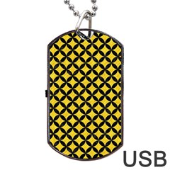 Circles3 Black Marble & Yellow Colored Pencil Dog Tag Usb Flash (two Sides)