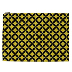 Circles3 Black Marble & Yellow Colored Pencil Cosmetic Bag (xxl)