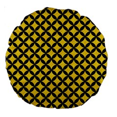 Circles3 Black Marble & Yellow Colored Pencil Large 18  Premium Round Cushions