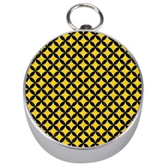 Circles3 Black Marble & Yellow Colored Pencil Silver Compasses