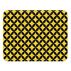 Circles3 Black Marble & Yellow Colored Pencil Double Sided Flano Blanket (large)