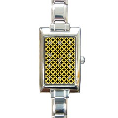 Circles3 Black Marble & Yellow Colored Pencil (r) Rectangle Italian Charm Watch