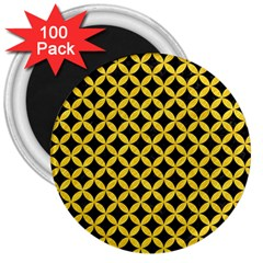 Circles3 Black Marble & Yellow Colored Pencil (r) 3  Magnets (100 Pack)