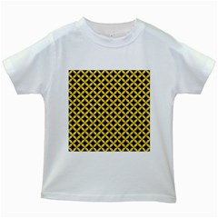 Circles3 Black Marble & Yellow Colored Pencil (r) Kids White T Shirts